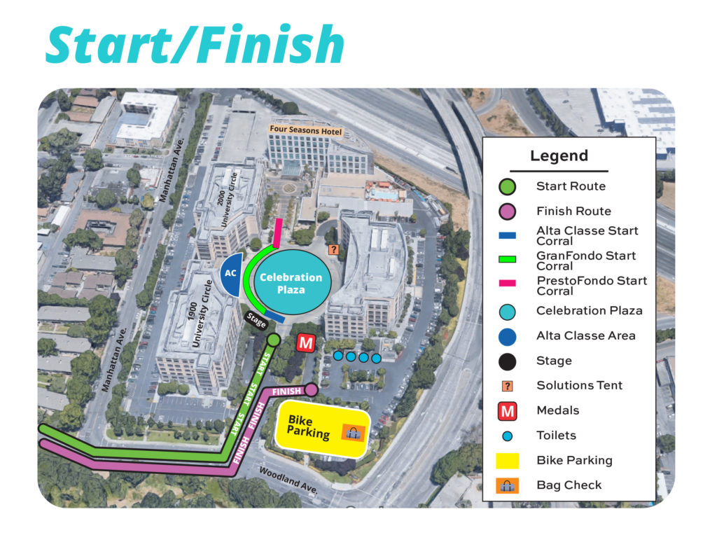 Start / finish map for RBC GranFondo Silicon Valley