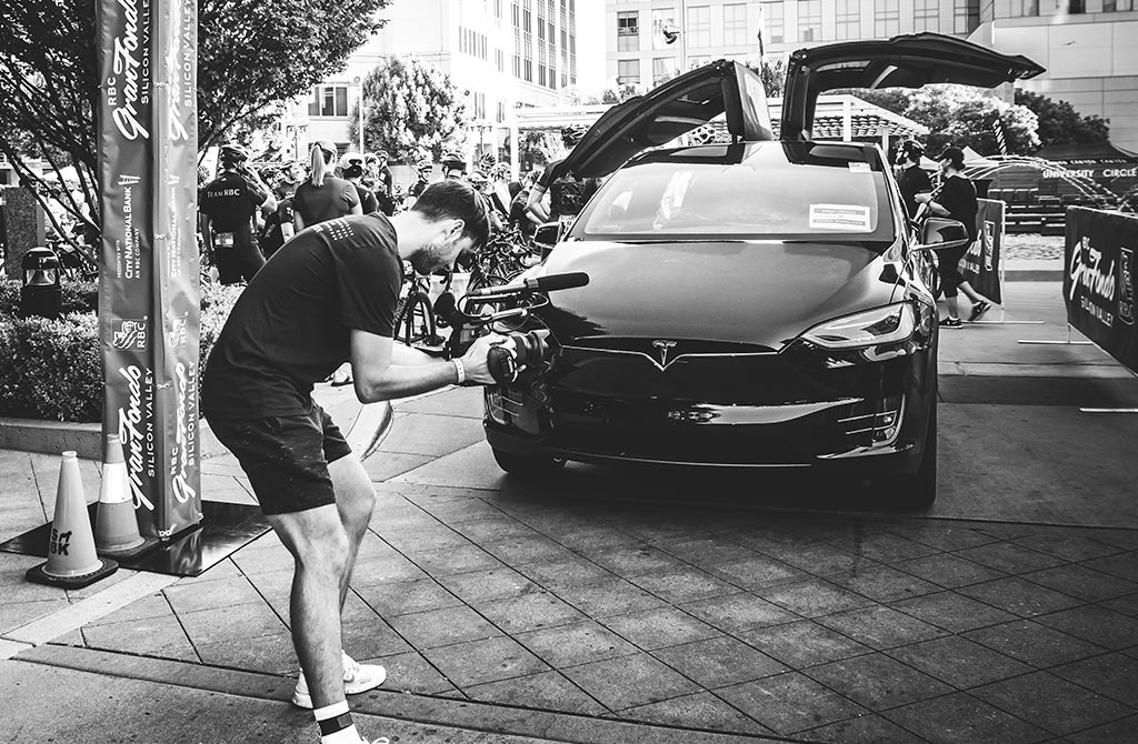 RBC GranFondo Silicon Valley Tesla lead vehicle
