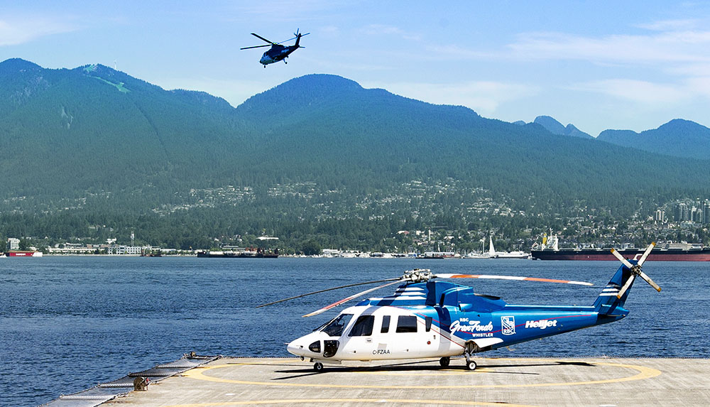 The RBC GranFondo Whistler helicopter waiting for departure at Vancouver Heliport
