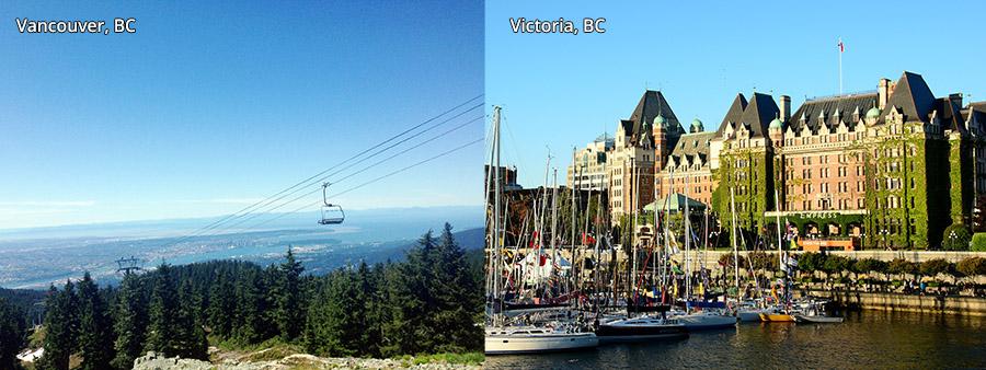 Vancouver and Victoria, BC, Canada