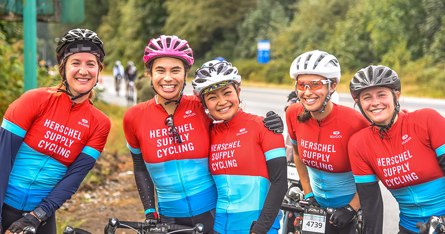 Herschel employees having fun during RBC GranFondo Whistler