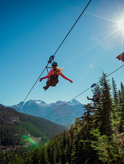 Friends take on the Whistler zipline