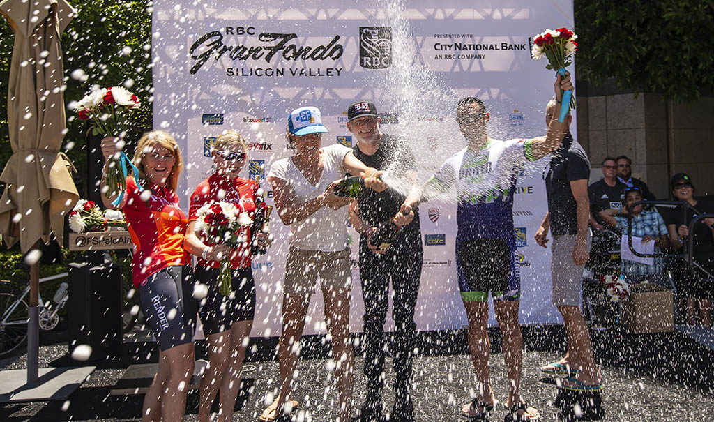 RBC GranFondo Silicon Valley winners spray champagne