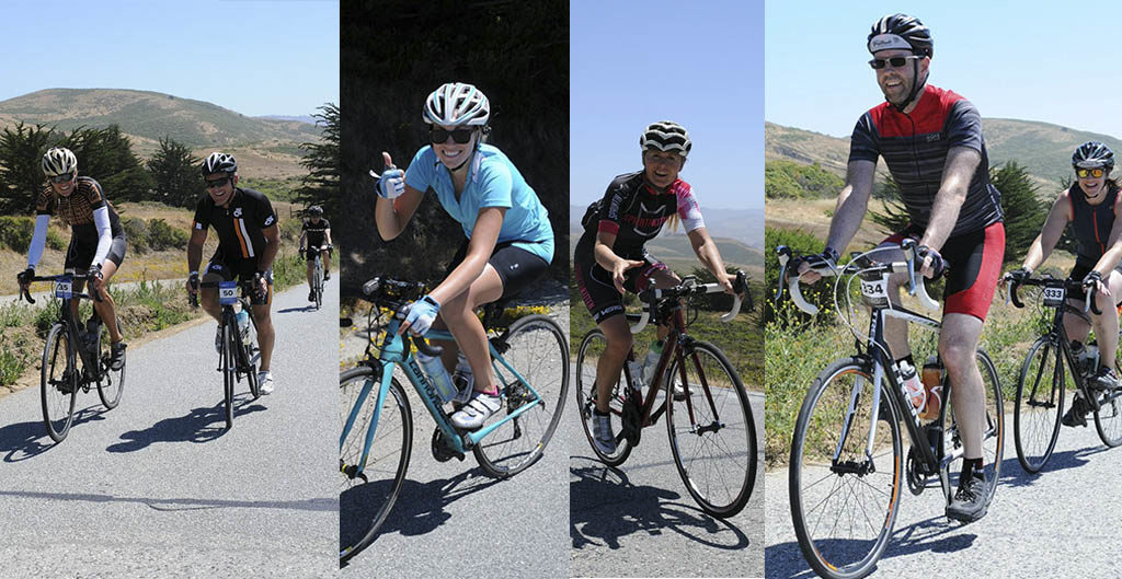Shots of riders enjoying the beautiful hills under blue skies