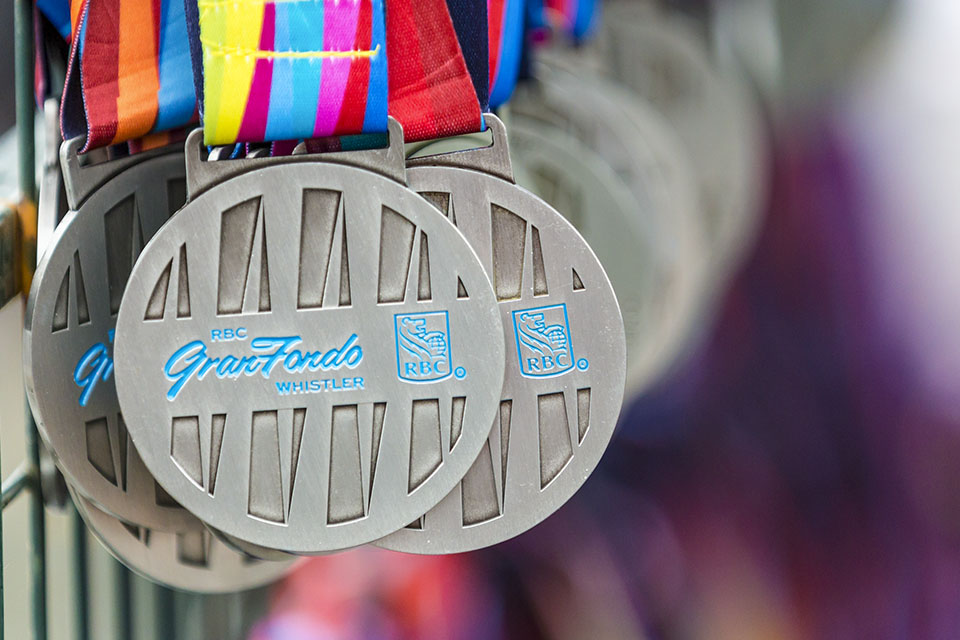 Medals hang at RBC GranFondo Whistler waiting for victorious riders