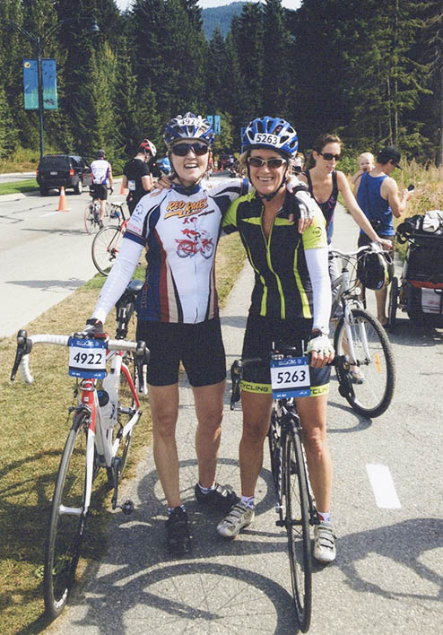 Donna Begg at the finish like with her friend in Whistler