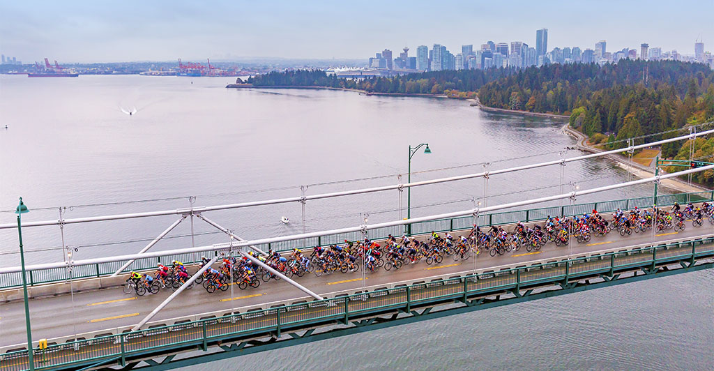 Alta Classe riders are first over the Lions Gate Bridge
