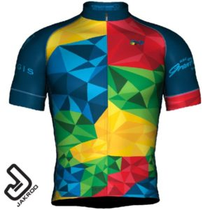 Front view of the 2020 GranFondo Whistler jersey and bib-shorts - Alpine Meadow Version