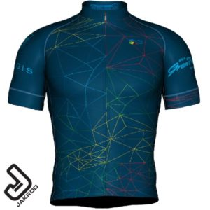 Front view of the 2020 GranFondo Whistler jersey and bib-shorts - Diamond Head Version